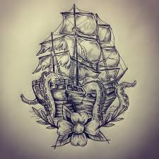 Small Picture Ship octopus tattoo sketch drawing by Ranz Pinterest