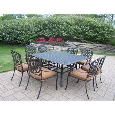 oakland living cast aluminum 9 piece square patio dining set with sunbrella cushions