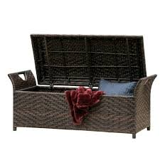 outdoor storage bench wicker box w lid patio garden poolside deck 2 seat brown for