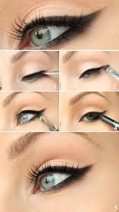 the technique for an evening cat eye makeup does not differ much from a daytime cat