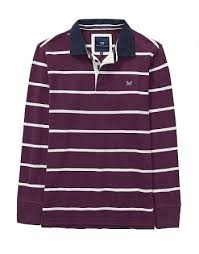 crew long sleeve rugby shirt in washed plum optic white crew clothing at westquay