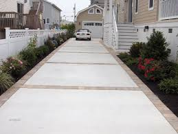 like concrete and paver driveway or concrete with stamped edge instead description from