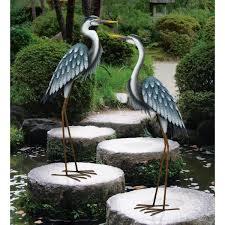 regal large blue heron metal garden