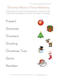 work sheets for kids | Christmas Word Matching Worksheet for Kids ...