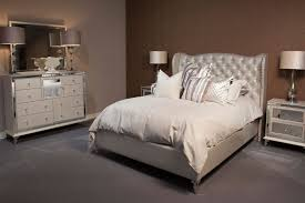 tufted bedroom furniture. Wonderful Bed With White Tufted Headboard By Aico Furniture Bedding On Gray Rug For Bedroom Decor Ideas Michael Amini Firepl Grey And Silver