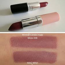 mac whirl ang rimmel london lasting finish by kate 48 mac lipstick dupes