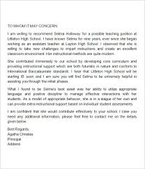 Recommendation Letter Teaching Position Letter Of Recommendation For Student Template Teacher
