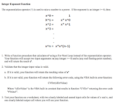 Integer Exponent Function The Exponentiation Opera Chegg Com