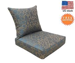 bossima outdoor chair cushion patio deep seat high back pad set blue brown
