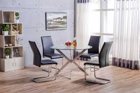 venice chrome round glass dining table and 4 black lorenzo dining chairs set