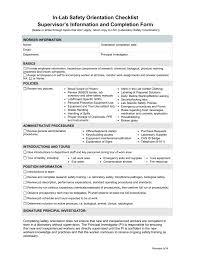 In Lab Safety Orientation Checklist