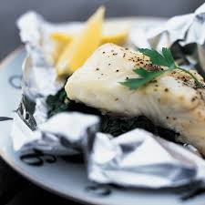 foil baked sea b with spinach recipe