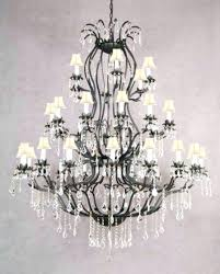 wrought iron crystal chandelier h30 x w28 black lighting country french white