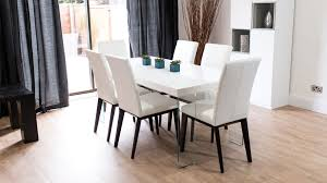 modern white gloss dining set black grey leather chairs with for 6 prepare 18