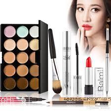 15 color camouflage concealer palette eyeliner mascara eyebrow pencil lipbrush lipstick makeup brush luxurious makeup set w1244