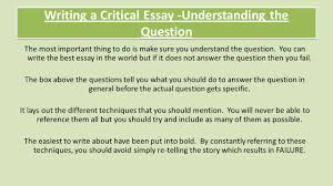 national critical essay revision review understanding the  writing a critical essay understanding the question the most important thing to do is make