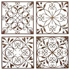 set of 4 square brown metal wall plaques leaf branches scroll work decor 50035