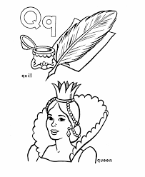 Small Picture ABC Alphabet Coloring Sheets Q is for Quill Queen HonkingDonkey