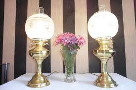 pair of vintage solid brass table lamps