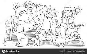 Gatti Svegli Lettura Elemento Design Pagina Libro Colorare Bambini