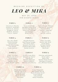 Seating Chart For Wedding Reception Cream Pink Floral Illustration Wedding Reception Seating Chart