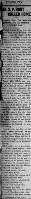 S P Hunt, husband of Nannie Greene, daughter of Dr. Richard Greene -  Newspapers.com