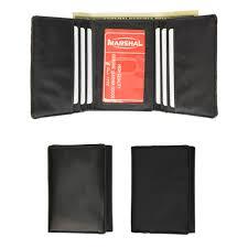 Tri Fold Window Mens Leather Trifold Wallet Thin Window Clear Pocket Bills Slots Card Case Black