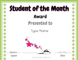Star Of The Month Certificate Template Student Of The Month Certificate Template Editable Best 5 Award