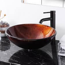 yescom modern bathroom round artistic tempered glass vessel vanity sink bowl basin spa com