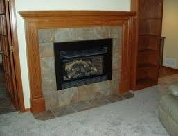 Fire Place Solid Wood Mantle Slate Hearth  Construction Slate Fireplace