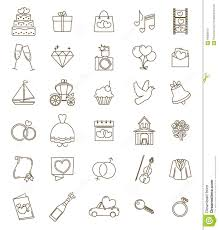 Thin Line Icons Wedding Set Outline With Adjustable Stroke Stock