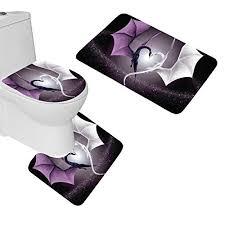 wondertify 3 piece bathroom mats set heart shaped dragon bath mat set non slip bathroom rugs contour mat toilet cover