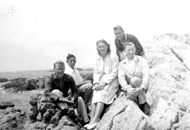 Esther's Hopkins Marine Station friends at Cypress Point, Monterey: August,  1945