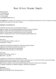 Gallery Of Driver Resumes Boat Driver Resume Sample Driving Skills