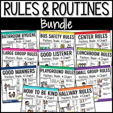 School Safety Rules Chart Classroom School Rules Bundle Positive Behavior Management