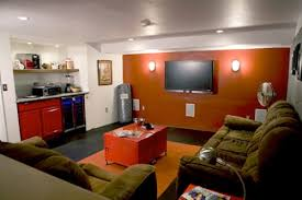 A Man Cave with an accent wall