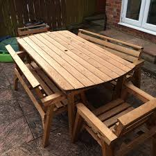 table 2 chairs and bench. the seating area of bench is 1230mm x 390mm table 2 chairs and