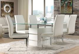 modern dining room chairs. Dining Room, White Modern Diningroom Furniture Packages With Glass Tabletop And Bright Leather Look Upholstery Room Chairs M