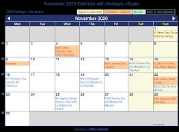 Print Friendly November 2020 Spain Calendar For Printing