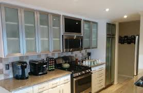 stainless steel frame glass cabinet doors