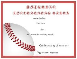 Softball Certificates Softball Baseball Softball