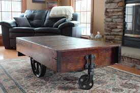 ... Coffee Table, Excellent Brown Rectangle Ancient Wood Factory Cart Coffee  Table On Wheels Idea Which ...