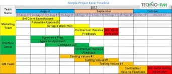 Simple Project Excel Timeline Project Timeline Template