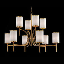 high quality modern american style 10 arms brass glass shade chandelier hanging lights