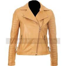 kelly brook women brown tan leather jacket