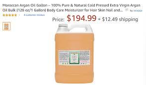 1 gallon of argan oil on a por hair oil trading site amazon