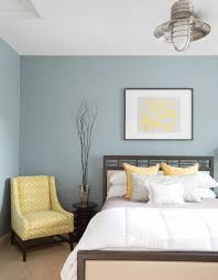 colour design bedroom pastel yellow armchair mural wall color pigeon blue