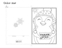 Penguin Holiday Thank You Card Free Printable Coloring Pages