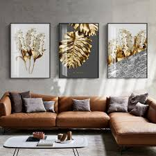 nordic golden abstract leaf flower