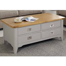 bordeaux painted light grey 4 drawer coffee table